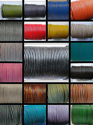 100% Real Round Leather Cord - 1,1.5,2,3,4,5 MM String Lace Thong Jewellery - HQ