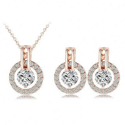 18K Gold Plated Austrian Crystal Necklace Pendant Earrings Set Fashion Jewelry