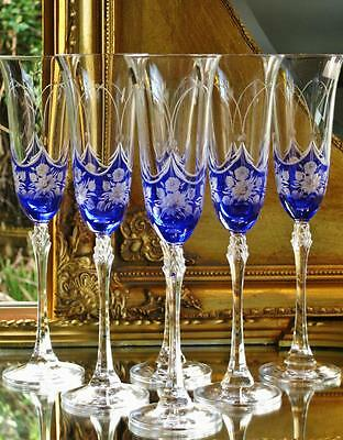 Set of 6 beautiful Bohemia SAPPHIRE ROSE Royal Crystal Champagne flutes.
