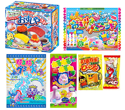 6 PIECE DIY JAPANESE CANDY SET Popin Cookin Sushi, Gummy, Neruneru Sweets Poppin