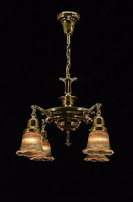 Vintage Restored Late Victorian Polished Brass 4 Arm Pan Ceiling Fixture