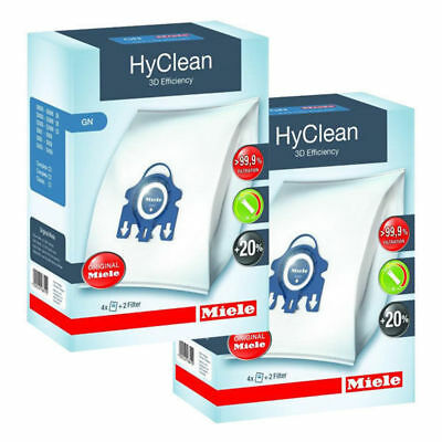 2 Boxes Genuine Miele GN HyClean 3D Efficiency Vacuum Bags+4 Filter S8000 S8