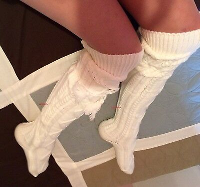 22ff479c3fb Soft Thick Cable Knit Over The Knee High Socks Womens White OTK Boot Cuff  Tie