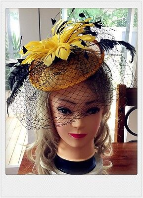 Classic Sinamay Fascinators Vintage Yellow Black Veil Flower Races Wedding Party