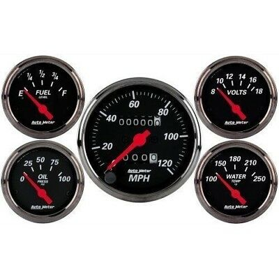 Autometer Designer Black Gauge Kit Mech Speedo,fuel,water Temp,oil,volts Au1400