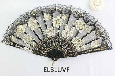 Spanish Black Flower Floral Fabric Lace Folding Hand Dancing Fan Summer Favor