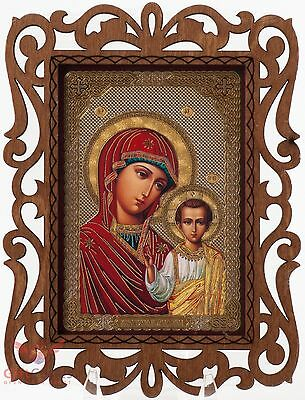 Virgin Mary Jesus Our Lady of Kazan Russian Orthodox Icon Wood