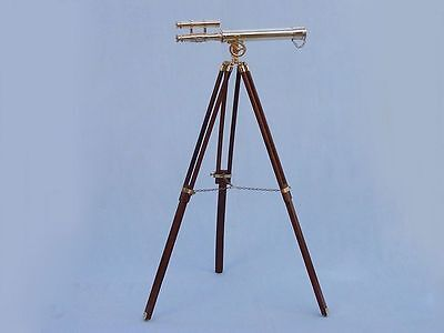 Nautical Solid Brass Double Barrel 18Inch Telescope W/ Tripod Stand