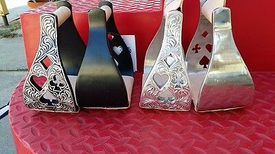Western Stirrup Irons Silver Show Fancy Oxbows rodeo barrel horse saddle