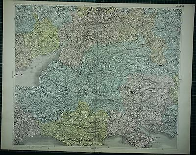 1883 Large Antique Map ~ England South Dorset Hampshire Hand Coloured