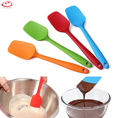 Cooking Utensils Silicone Spatulas Spoon One Piece Design Heat Resistant NEW