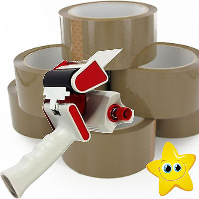Tape Dispenser / Gun + 6 Big Rolls Of Brown Buff Parcel Packing Tape 48mm X 66m