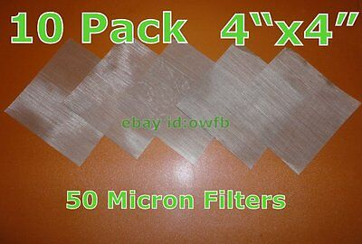 (10 Pack) 50 Micron Stainless Steel Mesh 50u Concentrate Screen High Pressure!
