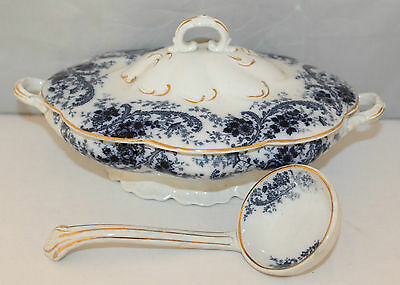 Wm. Adams & Co., Tunstall - Queens Border - Flow Blue Tureen and ladle - c1895