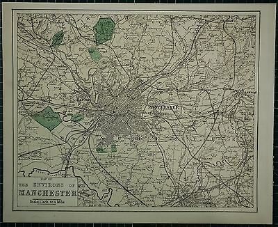 1883 Large Antique Map ~ Manchester Environs Salford Parks Ashton Hand Coloured