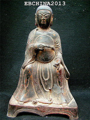 """10.4""""China Old Antique Culture Bronze Brass Ancient Noble Woman Sit Statue"""