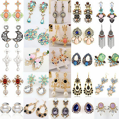 Best 1 Pair Elegant Women Fashion Rhinestone Ear Stud Earrings Crystal Chain