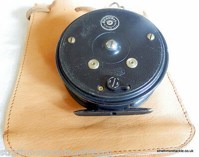 """Vintage JW Young Beaudex 4"""" Reel in leather drawstring bag & instructions"""