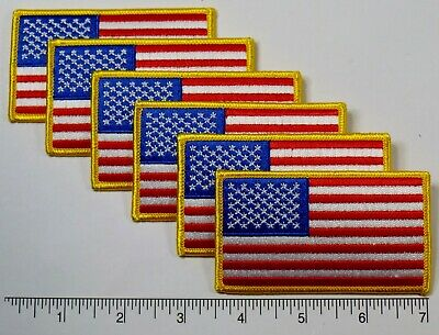 "6-pack: American Flag Embroidered Patch 3.5x2"" -- Patriotic US USA United States"