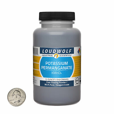 Potassium Permanganate / Flowing Powder / 12 Ounces / 98+% Pure / SHIPS FAST