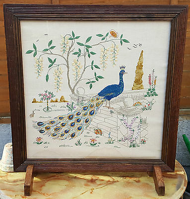Vintage Art Deco Peacock Embroidered Tapestry Glazed Oak Fire Screen