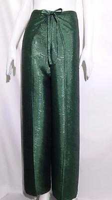 Hippy Fishermans Drive in Pants / Authentic / Jacquard Weave Thai Silk / Green