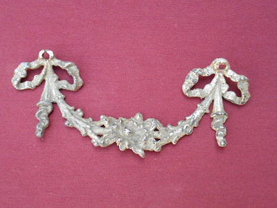 Vintage Small Nickel Plated Cast Brass Art Nouveau Filigree Piece