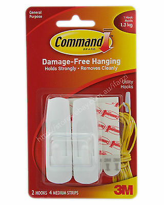 3M COMMAND Damage-Free Hanging Medium Hooks 2 Hooks 4 Strips 1.3Kg 17001ANZ