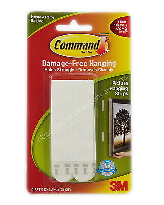 3M COMMAND Damage-Free Hook 4 Sets Large Picture Hanging Strips 7.2Kg 17206