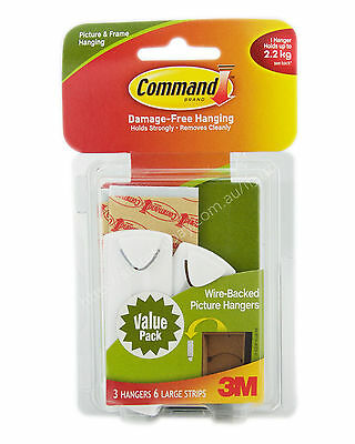 3M COMMAND Damage-Free Wire-Backed Picture Hook 3 Hanger 6 Strip 2.2Kg 17043