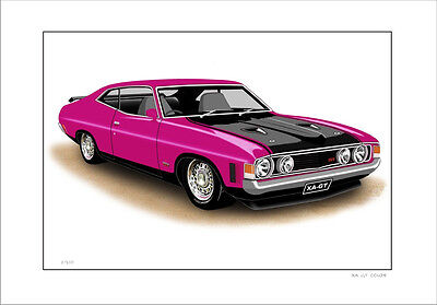 Ford  Xa  351Gt  Falcon Coupe     Limited Edition Car Print  Drawing