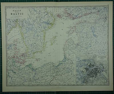 1880 Large Antique Map ~ Basin Of The Baltic St Petersburg Cityplan Denmark