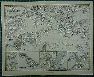 1880 Large Antique Map ~ Basin Of The Mediterranean Maltese Marseille Venice