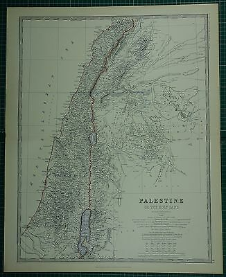 1880 Large Antique Map ~ Palestine Holy Land Samaria Gallilee Judea