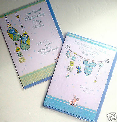CHRISTENING CARDS BOY x12, just 25p! 2 DESIGNS X6, GLITTERED, WRAPPED (B643