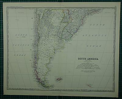 1880 Large Antique Map ~ Southern South America Argentina Falkland Chile