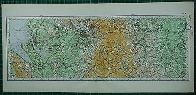 1922 Large Map ~ Manchester Salford Flintshire Cheshire Sheffield Chester
