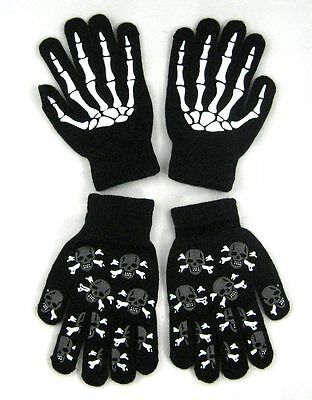 TWO PAIRS Glow In Dark Skully Magic Stretchy Cotton Gloves One Size Fits Most #2