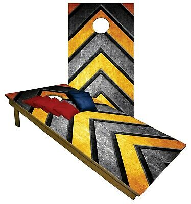 Cornhole Boards BEANBAG TOSS GAME w Bags Black & Gold Yellow Steelers Fans Set