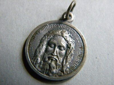 Antique Metal Medal Jesus Face Ihs