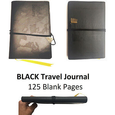 WORLD TRAVEL JOURNAL. Black Embossed Bucket List Holiday Travellers Notepad Book