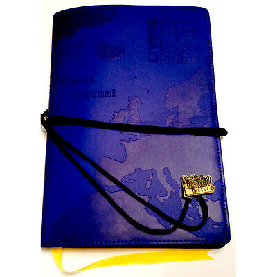 WORLD TRAVEL JOURNAL. Blue Embossed Bucket List Holiday Travellers Notepad Book