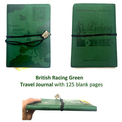 WORLD TRAVEL JOURNAL. Green Embossed Bucket List Holiday Travellers Notepad Book