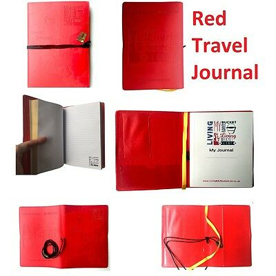 TRAVEL JOURNALS in Red Embossed Map Bucket List Holiday Travellers Notepad Book