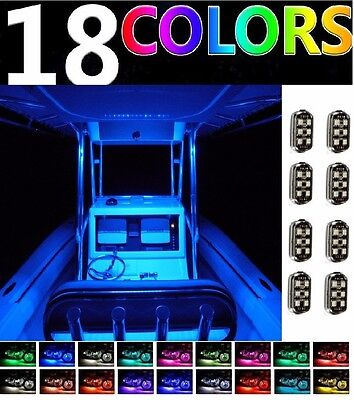 8pc Neon LED Accent Pontoon BOAT Deck Marine Glow Waterproof Pod Lighting Kit