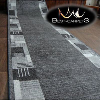 THICK Runner Rugs MONTANA grey modern NON-slip Stairs Width 67-100cm extra long