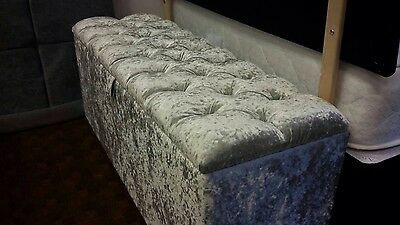 Diamante Ottoman in Crushed Velvet Fabric Foot Stool, Pouffe,Blanket,Storage Box