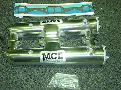 Mce Polished Marine Exhaust Manifolds Chev Sb Tw002A