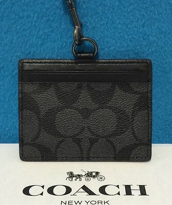NEW Coach Men's Signature PVC ID Lanyard/Holder Charcoal/ Black F64063  $95