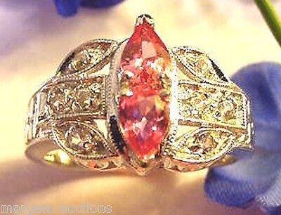 GENERATIONS 1912 GENUINE FANCY COLORED PEACH & WHITE SAPPHIRE RING 14kt W/G